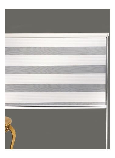 Tekstil Gemisi Geniş Pileli Zebra Perde Eteksiz Beyaz